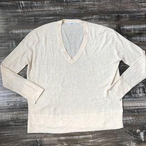 Zara Ivory Beige V-Neck Loose Sweater Soft Knit